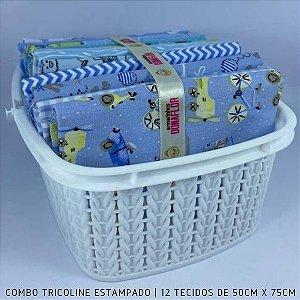 Combo Tricoline 100%Algodão Tons Azul 12tecidos 50x75cm + Cestinha