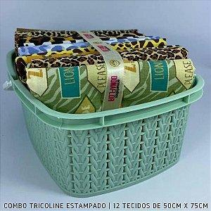 Combo Tricoline 100%Algodão Safari 12tecidos 50x75cm + Cestinha