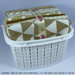 Combo Tricoline 100%Algodão Tons Bege 12tecidos 50x75cm + Cestinha