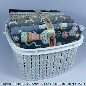 Combo Tricoline 100%Algodão Tons Cinza 12tecidos 50x75cm + Cestinha