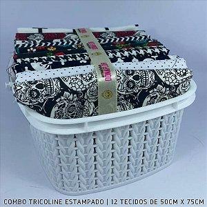 Combo Tricoline 100%Algodão Caveiras 12tecidos 50x75cm + Cestinha