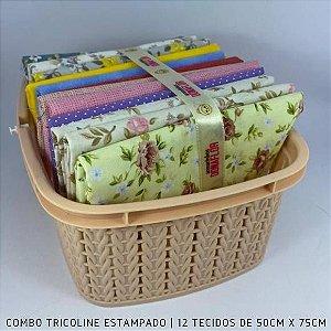 Combo Tricoline 100%Algodão Flores e Poas 12tecidos 50x75cm + Cestinha