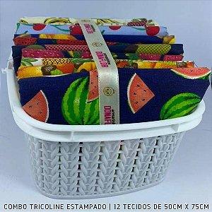 Combo Tricoline 100%Algodão Salada de Fruta 12tecidos 50x75cm + Cestinha