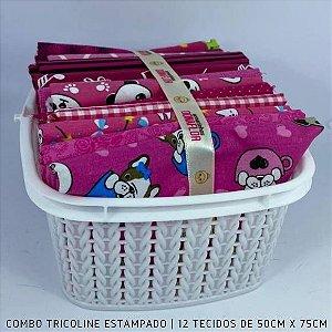 Combo Tricoline 100%Algodão Tons Pink12tecidos 50x75cm + Cestinha