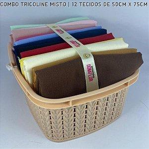 Combo Tricoline Misto Multicores Forte 12tecidos 50x75cm + Cestinha