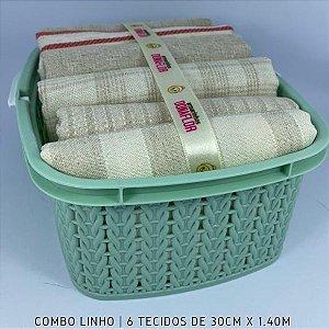 Combo Linho tons Cru 6tecidos 30cmx1.40m + Cestinha