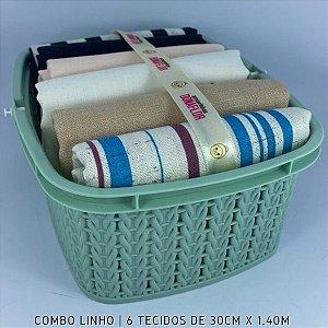 Combo Linho tons Multicores 6tecidos 30cmx1.40m + Cestinha