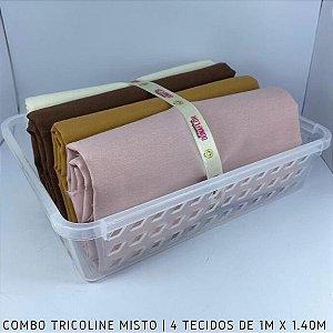 Combo Tricoline Misto Tons de Bege 4tecidos 1mx1.40m + Cestinha