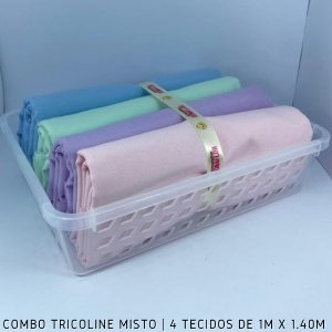 Combo Tricoline Misto Tons Pasteis 4tecidos 1mx1.40m + Cestinha