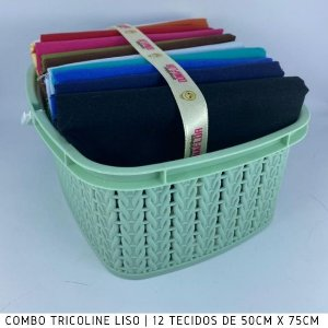Combo Tricoline Liso 100%Algodão Multicores Forte12tecidos 50x75cm + Cestinha