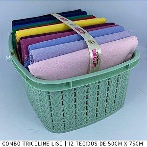 Combo Tricoline Liso 100%Algodão Multicores12tecidos 50x75cm + Cestinha