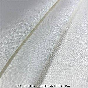 Tecido para Bordar Madeira Lisa Branco 50cm x 1,60m