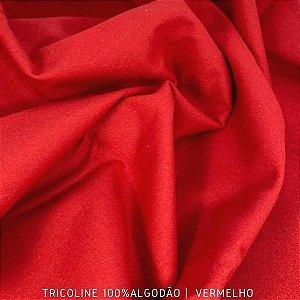 Tricoline Liso 100% Algodão Vermelho 50cm x 1,50m