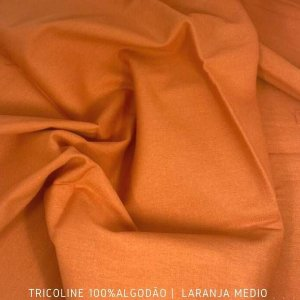Tricoline Liso 100% Algodão Laranja Médio 50cm x 1,50m