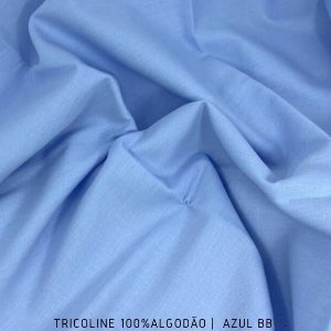 Tricoline Liso 100% Algodão Azul BB 50cm x 1,50m