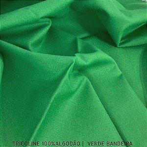 Tricoline Liso 100% Algodão Verde Bandeira 50cm x 1,50m