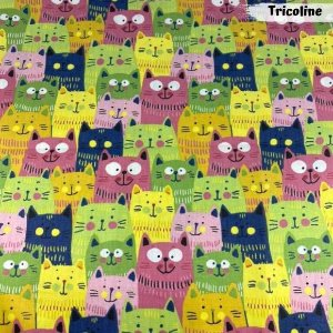 Tricoline Cat Coloridos 50cm x 1,50m Largura