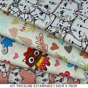 Kit Tricoline Cat  Love 4tecidos 50cmx70cm