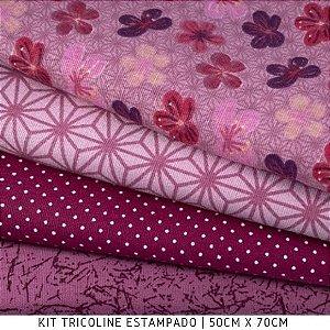 Kit Tricoline Cerejeiras 4tecidos 50cmx70cm