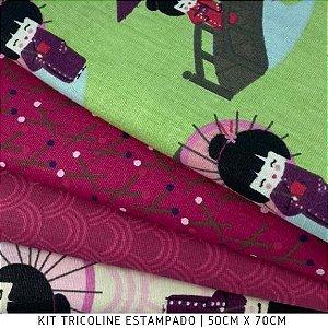 Kit Tricoline 4Tecidos Kokeshis  Japonesa 50cmx70cm cada
