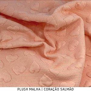 Plush Malha Amabile Coração fundo Salmão 50cm x1,50m