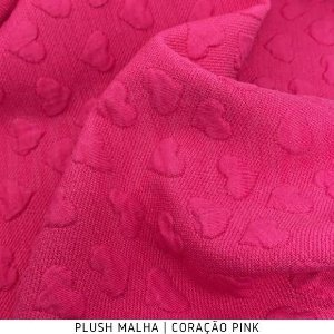 Plush Malha Amabile Coração fundo Pink 50cm x1,50m
