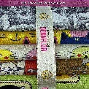Kit Tricoline Cat 5Tecidos 20cm x 35cm
