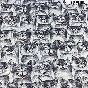 Tricoline Cat Black 50cm x 1,50m Largura