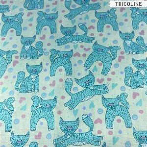 Tricoline Gatinhos Azul 50cm x 1,50m Largura