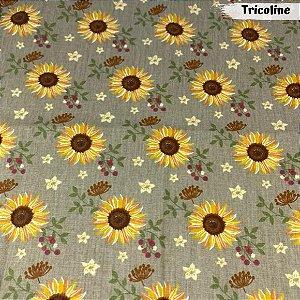 Tricoline Girassóis Castanho 50cm x 1.50m largura