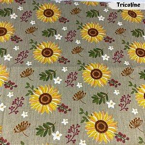 Tricoline Girassóis Castanho com Florzinha Branca 50cm x 1.50m largura