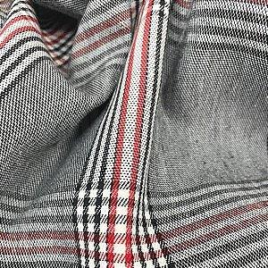 Alfaiataria Xadrez Tons Cinza e Vermelho 50cm x 1.40m