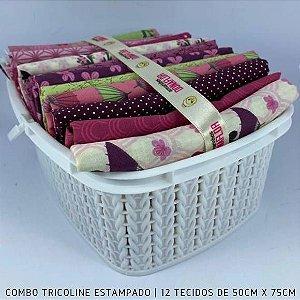 Combo Tricoline 100%Algodão Kokeshis 12tecidos 50x75cm + Cestinha