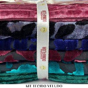 Kit Tecido Veludo 6 tecidos 30cm x 80cm casa