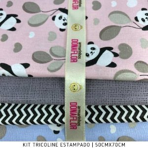 Kit Tricoline 4Tecidos Panda Balões 50cmx70cm cada