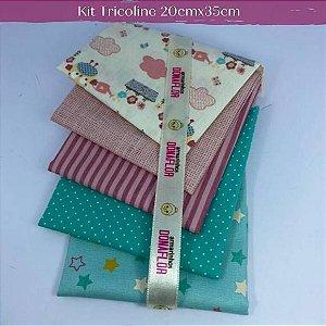 Kit Tricoline 5Tecidos Corujinha 20cm x 35cm cada