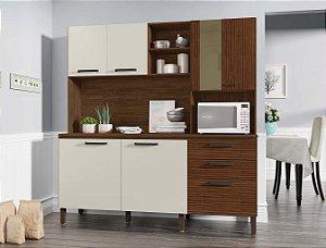 Armário de cozinha kit's Paraná Mega 1,80- Nogueira Ripado/Off White