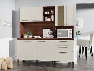 Armário de Cozinha Kit's Paraná Mega 1,80- Off White/Nogueira Ripado