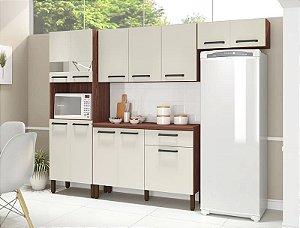 Armário de Cozinha Kit's Paraná Versalhes C/Balcão - Nogueira/ Off White