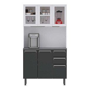 Armario de Cozinha Colormaq Kit Roma 5 Peças-Branco/Grafite