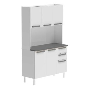 Armário De Cozinha Colormaq Kit Verona 5 portas- Branco/Branco