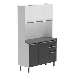 Armário de cozinha Colormaq Kit Verona 5 portas- Branco/Grafite