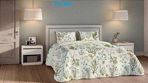 Jogo de cama Teka Diamante 4 peças 150 fios 270cm flora-King