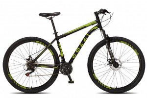 Bicicleta Colli Athena Aro 29 21m Freio a Disco com kit Shimano- Preto fosco/Amarelo Neon