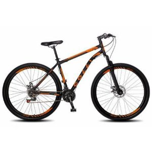 Bicicleta Colli Athena Aro 29 21m Freio a Disco com kit Shimano- Preto fosco/Laranja Neon