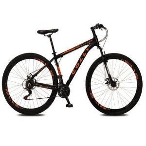 Bicicleta Colli Aluminio Shimano  21m Aro 29  Freio a Disco- Preto fosco/Laranja Neon
