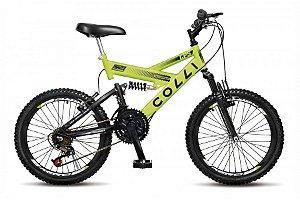 Bicicleta Colli GPS dupla suspensão 21m Aro 20 36R- Amarelo neon