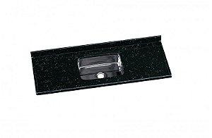 Pia AJR Roralit 1,40x55 granito preto C/ cuba Inox