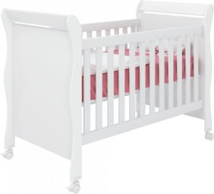 Berço Qmovi Mini cama Colonial Amore- Branco/Branco
