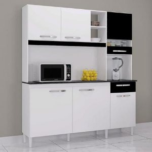 Armário Kit de cozinha Poquema barbara- Branco/ Preto